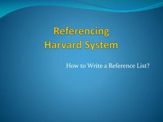 Referencing Harvard System