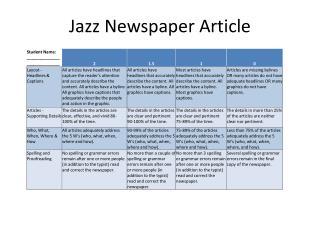 Jazz Newspaper Article