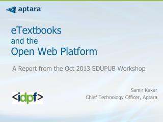 eTextbooks  and the  OpenWebPlatform