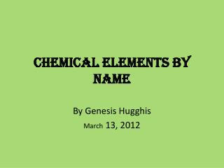 Chemical Elements by Name