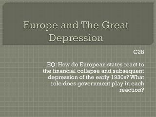 Europe and The Great Depression