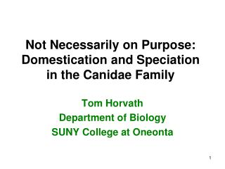 Not Necessarily on Purpose: Domestication and Speciation in the Canidae Family