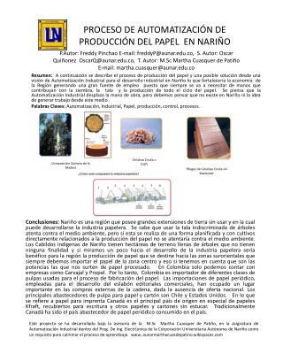 PROCESO DE AUTOMATIZACIÓN DE PRODUCCIÓN DEL PAPEL  EN NARIÑO