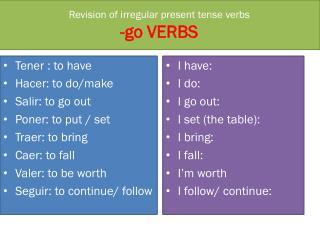 Revision of irregular present tense verbs -go VERBS