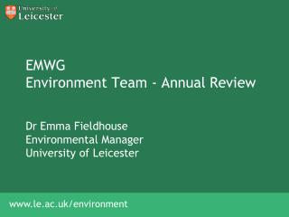 EMWG  Environment Team - Annual Review
