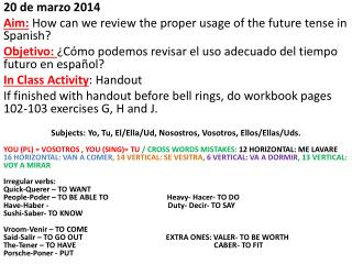 20 de  marzo  2014 Aim:  How can we review the proper usage of the future tense in Spanish?