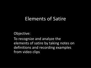 Elements of Satire