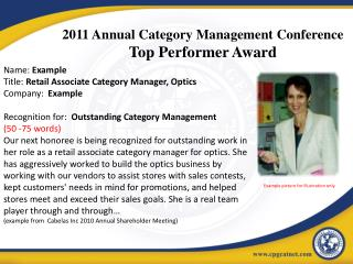 2011 Annual Category Management Conference Top Performer Award