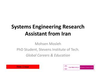 Systems Engineering Research Assistant from Iran