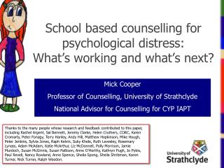 School based counselling for psychological  distress: What's working and what's next?