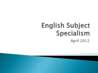 English Subject Specialism