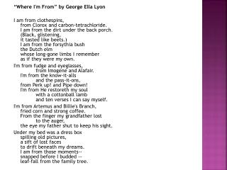 """Where I'm From"" by George Ella Lyon"