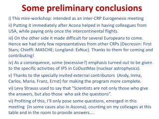Some  preliminary conclusions