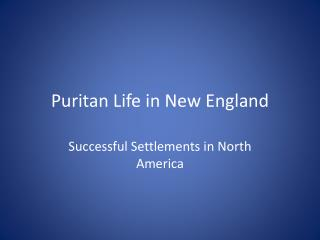 Puritan Life in New England