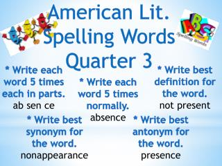 American Lit. Spelling Words Quarter 3