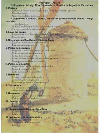 Proyecto  –  Álbum El  ingenioso  hidalgo Don  Quijote  de la Mancha de Miguel de Cervantes