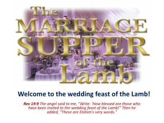 Welcome to the wedding feast of the Lamb!