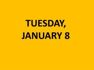 TUESDAY,  JANUARY 8