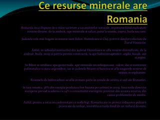 Ce resurse minerale are Romania