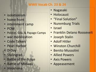 WWII Vocab Ch. 23 & 24