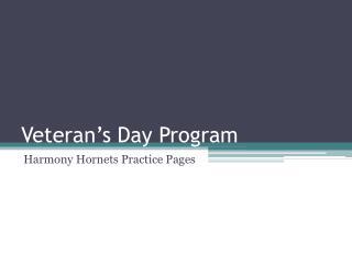 Veteran�s Day Program