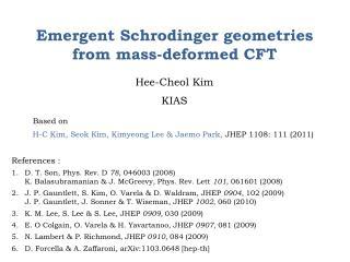 Emergent Schrodinger geometries from mass-deformed CFT