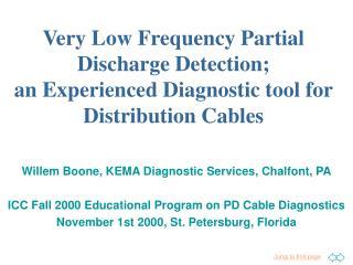 Willem Boone, KEMA Diagnostic Services, Chalfont, PA  ICC Fall 2000 Educational Program on PD Cable Diagnostics November