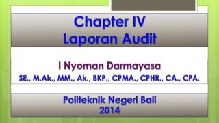 Chapter IV Laporan  Audit