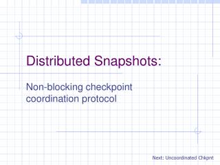 Distributed Snapshots: