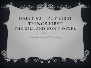Habit #3 – Put First Things First the will and won't power