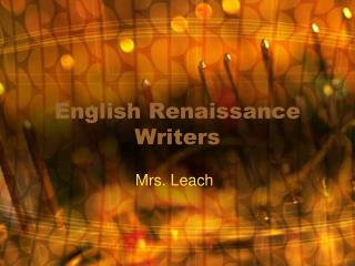 English Renaissance Writers