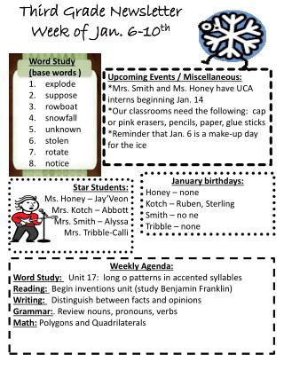 Third Grade Newsletter Week of  Jan. 6-10 th