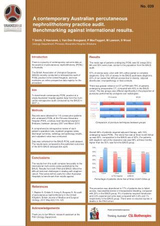 A contemporary Australian  percutaneous nephrolithotomy  practice audit.