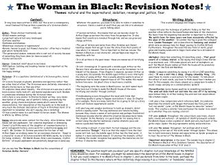 The Woman in Black: Revision Notes!