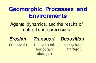 Geomorphic  Processes  and Environments