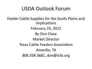 USDA Outlook Forum