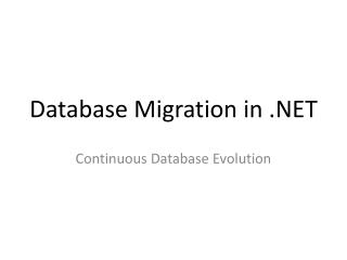 Database Migration in .NET