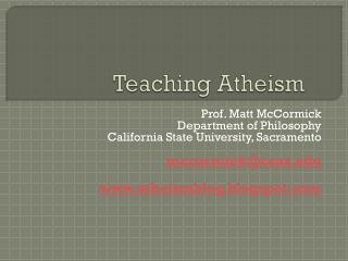 Teaching Atheism