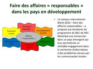 Faire des affaires «responsables» dans les pays en développement