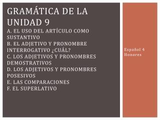 Español 4 Honores