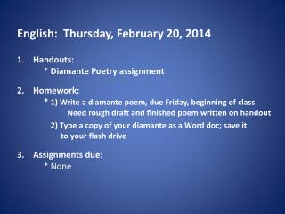 English:  Thursday, February  20, 2014