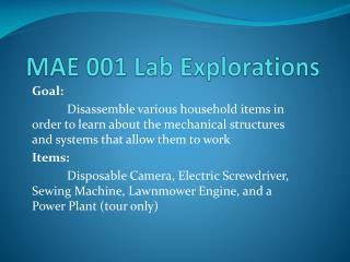 MAE 001 Lab Explorations