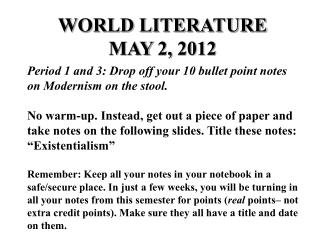 WORLD LITERATURE MAY 2, 2012
