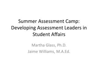 Summer Assessment Camp: Developing Assessment Leaders in Student Affairs