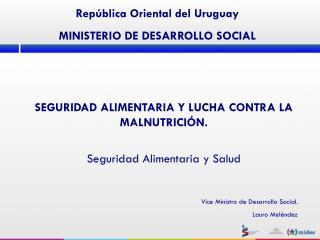 SEGURIDAD ALIMENTARIA Y LUCHA CONTRA LA MALNUTRICIÓN. Seguridad Alimentaria y Salud