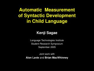 Automatic  Measurement  of Syntactic Development  in Child Language