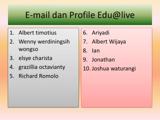 E-mail  dan  Profile  Edu@live