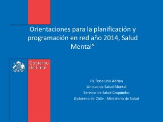 Orientaciones para la planificaci�n y programaci�n en red a�o 2014, Salud Mental�