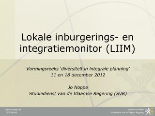 Lokale  inburgerings- en integratiemonitor (LIIM)