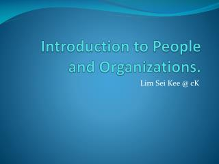 Introduction to People and Organizations.